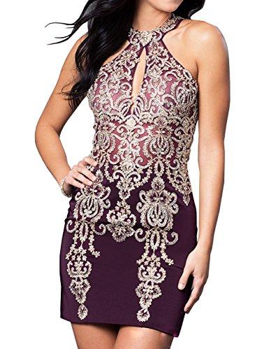Hohes Erosebridal Lila Neck Embellished Kurzes Abendkleid wzqq4YHx