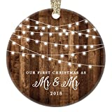 Married Gay Couple Christmas Ornament First Christmas as Mr & Mr New Husbands Ceramic Same Sex Newlywed Gay Pride Rustic Xmas Farmhouse Collectible 3'' Flat Circle Porcelain Gold Ribbon & Free Gift Box