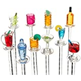 Akkapeary Set of 10 Acrylic Cocktail Swizzle Sticks Happy Hour Party 8'' hand decorated miniature cocktails and bar accessories Sets are beautifully presented in clear cylindrical packaging great gift