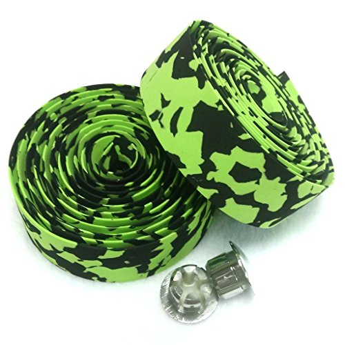 KINGOU Camouflage Absorbing Road Vibration Bicycle Fixed Gear Bar/Handlebar Tape Bandage - Green & Black
