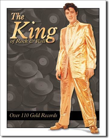 Elvis Presley el rey de Rock and Roll traje de oro retro vintage ...