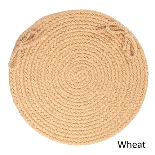 """Luxury Ivory Braided Chair Pads Set of 4 with Ties Simple Circle Chair Cushions Pads Round Shaped Patios Dining Room Seat Pad Reversible Country Rustic Farmhouse Table Decor Soft Quality Wool, 15""""x15"""""""