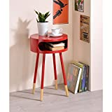 Major-Q Wooden Round End Table with Open Drawer for Living Room/Bedroom/Entryway/Hallway, Red 22 x 16 x 16 Review