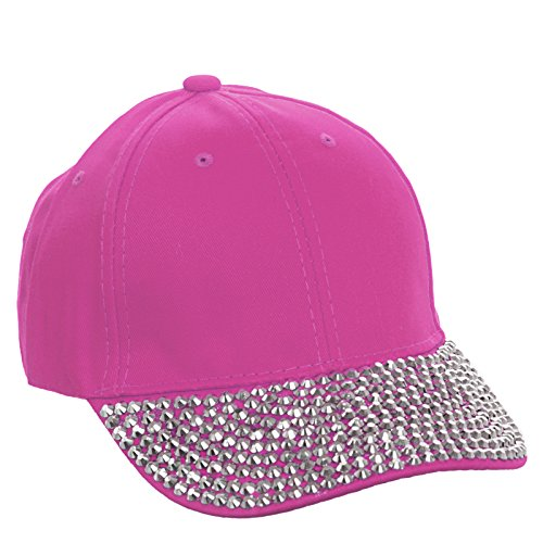 Rhinestone Brim Adjustable Baseball Cap Hat (Pink) (Sparkle Cap)