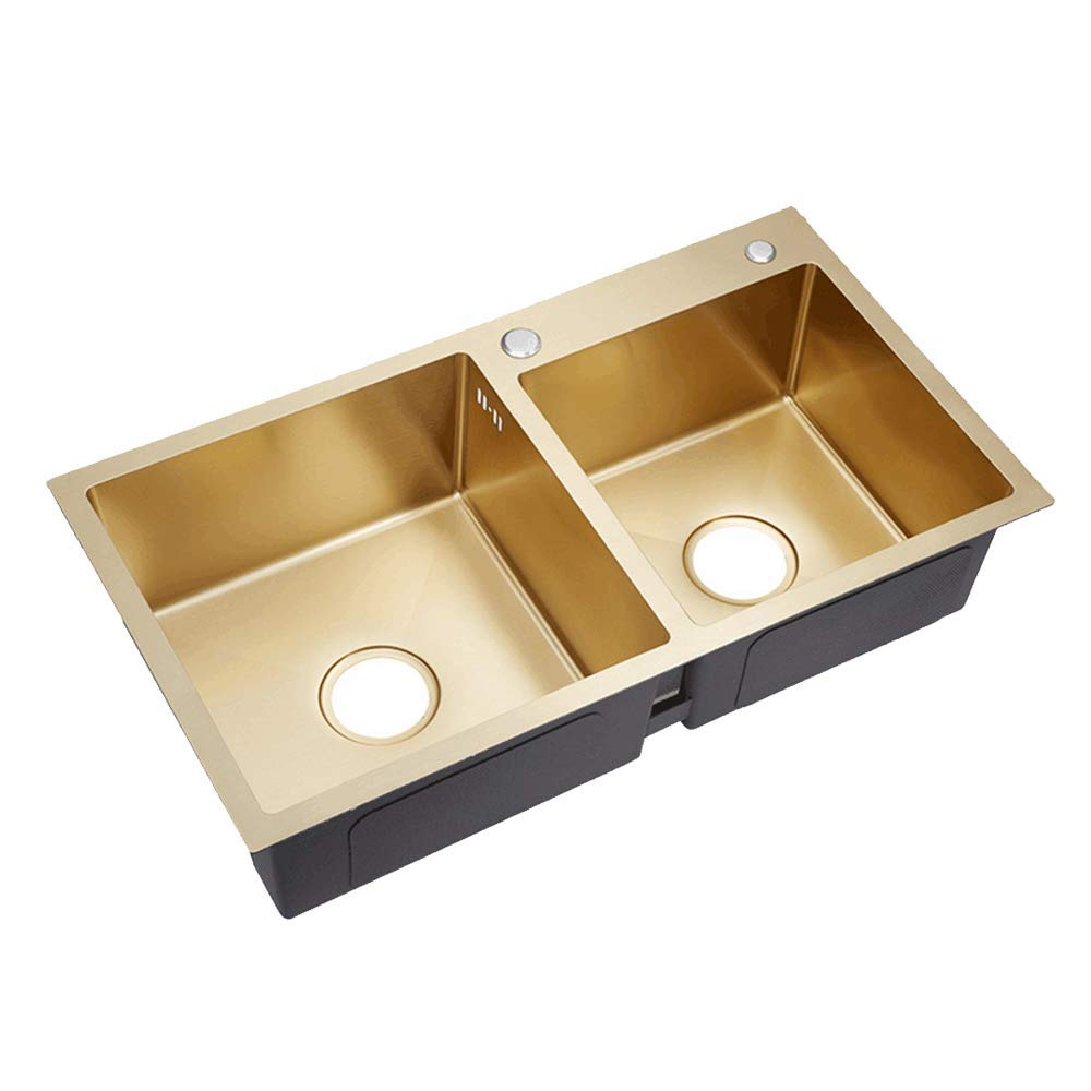 AQJD Brushed Gold Double Bowl Stainless Steel Kitchen Sink Drop in Kitchen Hardware