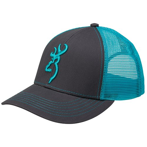 Browning 308177551 Flashback Cap, Charcoal/Neon Blue
