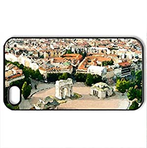 Milano, Italy - Case Cover for iPhone 4 and 4s (Watercolor style, Black)