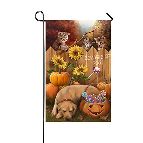 Designer Station Halloween Cats Beware Dogs Angle The Lollipops-Best Party Yard Home Outdoor Decor Garden Flag-28x40 Inches -