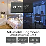 Wooden Alarm Clock,Digital Clock With 3 Levels Adjustable Brightness 3 Groups of Alarm Time,Triangle USB/4AAA Battery Powered Sound-Controlled, Displays Time Date Temperature and Humidity(Black)