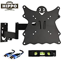 HIPPO F2101 TV Wall Mount Bracket for 15-42 Flat Screen TVs up to 55 lbs, VESA 200x200 mm with Full Motion Swivel Articulating Arm; 5ft HDMI Cable and Bubble Level Included