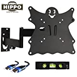 """HIPPO F2101 TV Wall Mount Bracket for 15""""-42"""" Flat Screen TVs up to 55 lbs, VESA 200x200 mm with Full Motion Swivel Articulating Arm; 5ft HDMI Cable and Bubble Level Included"""