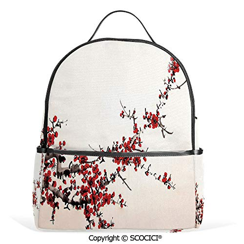 Casual Fashion Backpack Elegance Cherry Blossom Sakura Tree Branches Ink Paint Stylized Japanese Pattern Decorative,Red Cream Brown,Mini Daypack for Women & Girls ()