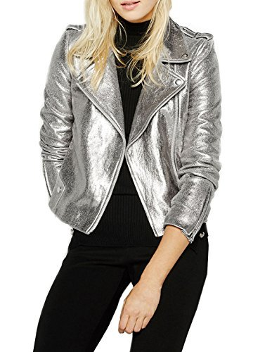 Richlulu Womens Sparkly Metallic Cool Science Fiction Motorcycle - Motorcycle Leather Jacket Metallic