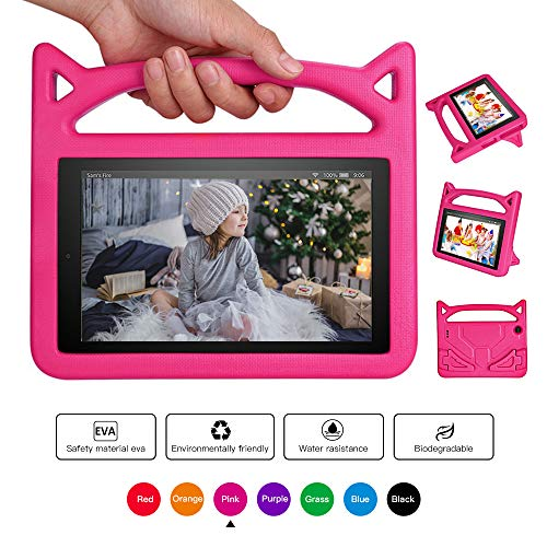 Mr. Spades Fire 7 Tablet Case,All-New Fire 7 2017 Case,Fire 7 Kids Case - Kids Shock Proof Protective Cover Case for Tablet (Compatible with 5th Generation 2015 / 7th Generation 2017) - Pink