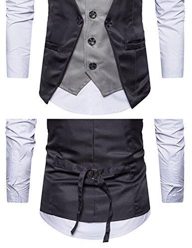 Homme Gris Chemise Veste Costume Slim Business Manches Mariage Sans Leisure 2in1 Fit sans Gilet d7x66