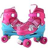 WeSkate Adjustable Kids Training Double Row Roller Skates PVC Wheel Triple Lock Mesh Breathable Rollerblades Beginners/Toddlers/Children/Boys/Girls (Pink, UK 11J-1)