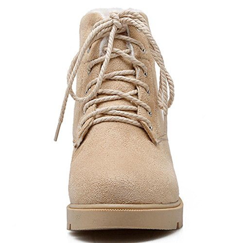Lace Lined Up Beige Warm Women Booties KemeKiss PSpC6C