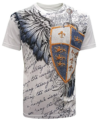 Rhinestone Graphic Tee T-shirt - New Special Edition Konflic Men's Crew Neck Espada with Sword and Shield Rhinestone Graphic Designer MMA Muscle T-Shirt