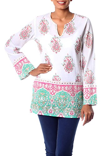 NOVICA Green and Pink Cotton Beaded Tunic with Sequins, Beautiful -