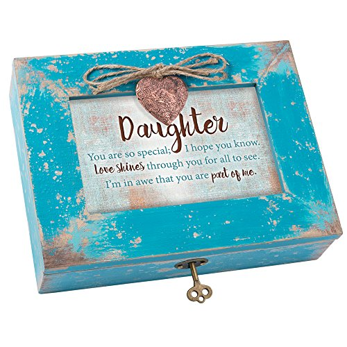 Cottage Garden Daughter So Special Love Shines Teal Distressed Jewelry Music Box Plays You Light Up My Life ()