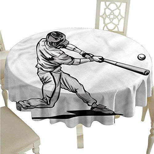 ScottDecor Christmas Tablecloth Boys Room,Fast Pitch Baseball Picnic Cloth Round Tablecloth D 54