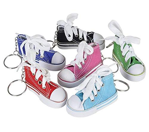 Rhode Island Novelty 3 Inch Chuck Sneaker Canvas Tennis Shoe Keychains | Lot of 24 ()