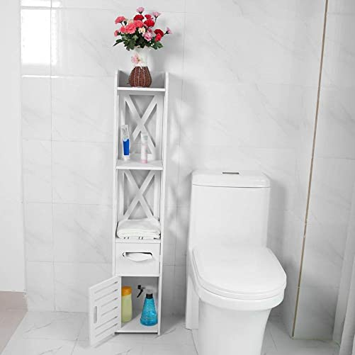 Bathroom Corner Storage Cabinet, Multi Compartment Organizer with Drawer for Home Office Corner Space White