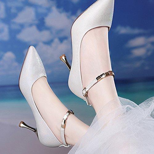 Chaussures Party Talons Chaussures UK De Mode 5cm Sexy Noir Femmes 7 2 Travail EU Cour Mariage Chaussures White Hauts Femme Nightclub 34 OqPznnE