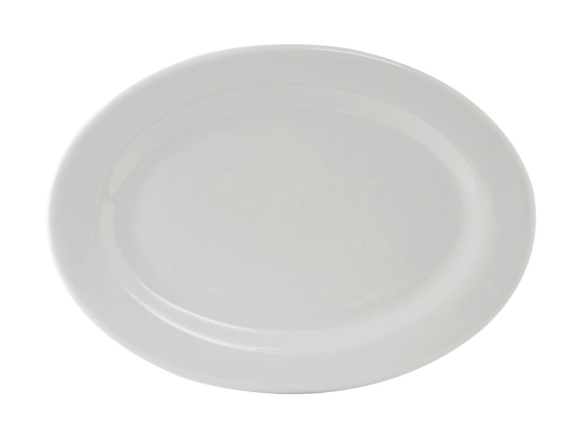 Tuxton ALH-100 Vitrified China Alaska Oval Platter, Wide Rim, Rolled Edge, 10'' x 7-1/4'', Porcelain White (Pack of 24),