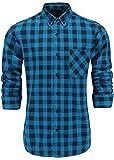 KateSui Mens Slim Fit Long Sleeve Button-Down Plaid Dress Shirt Large Blue Black