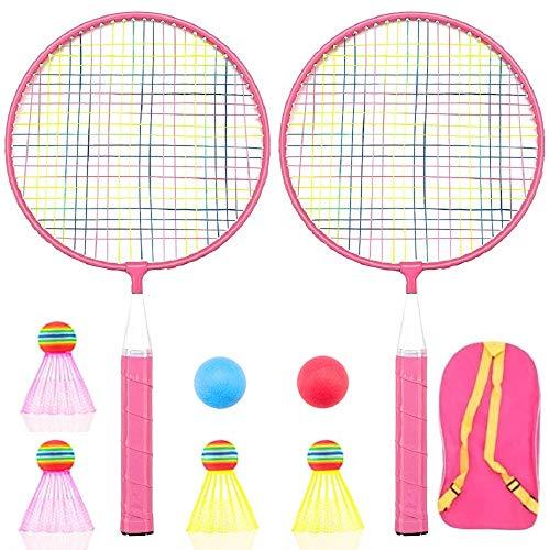 Badminton Racket for Children 1 Pair, Nylon Alloy Durable Badminton Racquet Set for Kids Indoor/Outdoor Sport Game(Including 4 Badminton and 2 Table Tennis) (Pink)