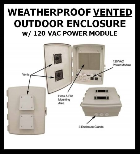 Outdoor Weatherproof VENTED Enclosure Box WITH 120 VAC POWER MODULE 14'' x 12'' x 4'' Cabinet Box Waterproof (Nema 3r Weatherproof Enclosure)