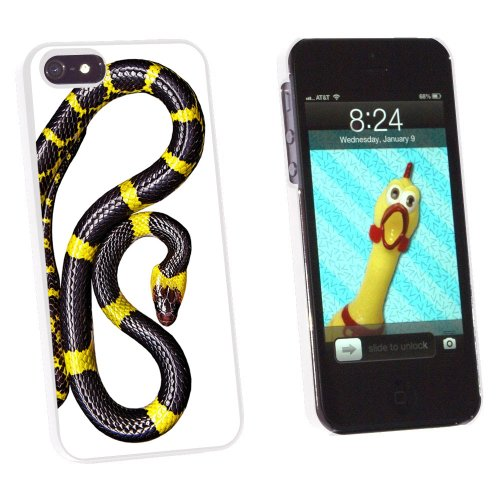 Graphics and More Black and Yellow Snake Reptile Snap-On Hard Protective Case for Apple iPhone 5/5s - Non-Retail Packaging - White