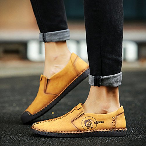 Casual Men's Top Sneakers on Men's On Leather Slip Loafers Yellow Leather Shoes hibote Shoes Car Casual Slip Shoes Driving Low rrfFvqBA
