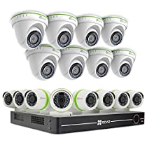 EZVIZ Smart Home 1080p Security Camera System, 16 Weatherproof HD 1080p Bullet and Dome Cameras, 16 Channel DVR 3TB HDD, 100ft Night Vision, Works with Alexa using IFTTT
