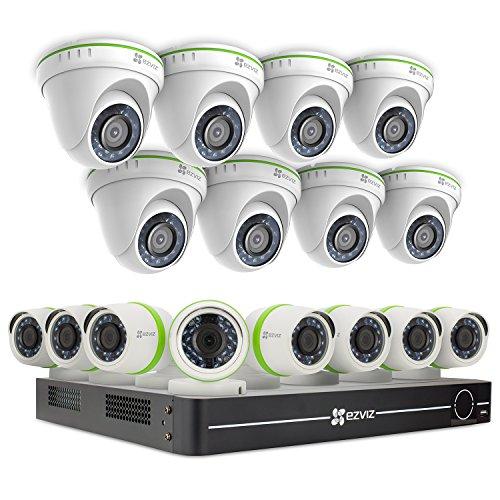 EZVIZ Outdoor 1080p Video Security Surveillance System, 16 Weatherproof HD Cameras, 16 Channel 3TB DVR Storage, 100ft Night Vision, Motion Tracking
