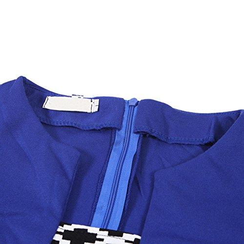 LAEMILIA Femme Robe Mini Crayon Moulante 3/4 Manche Slim Robe Bureau Tunique Party Cocktail avec Ceinture