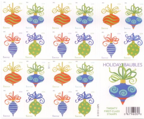 USPS Forever Stamps Holiday Baubles Booklet of 20 (For Postage 2017 Stamps Christmas)