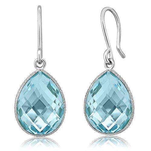 - Gem Stone King Sterling Silver Blue Topaz Dangle Earrings 18.00 cttw Gemstone Birthstone Pear Shape Teardrop 16X12MM