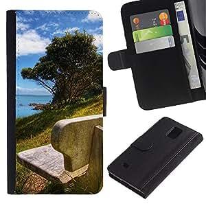 iBinBang / Flip Funda de Cuero Case Cover - Naturaleza Hermosa Forrest Verde 178 - Samsung Galaxy Note 4 SM-N910