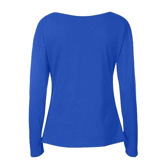 Camisa de Manga Larga Originales con Cuello en V Camiseta Túnica Tops, BBestseller Mujer Verano Casual Color sólido Suelto Blusa (XL, Azul): Amazon.es: Ropa ...