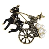 KOqwez33 Vintage Brooch Pin, Men Alloy + Faux Pearl Inlaid Carriage Shape Brooch Pin Enamel Lapel Badge Clip Accessory