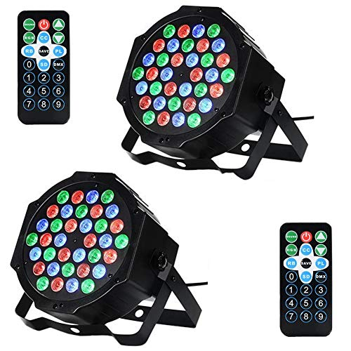 Litake LED DJ Stage Lights, 36 LED RGB Sound Activated DJ Par Lights, DMX Stage Floor Lights with Remote, DJ Par Stage Lighting for Dance Floor Party Wedding DJ Shows -2 Pack