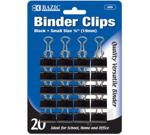 BAZIC Small 3/4'' (19mm) Black Binder Clip (20/Pack), Case Pack of 144
