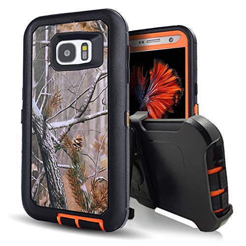 Galaxy S7 Case,Kecko Heavy Duty Protection Shock Reduction/Bumper Case Shockproof Dirtproof Defender Camo Cover Case w/Built-in Screen Protector for Samsung Galaxy S7 Cover Case (Tree Orange) ()