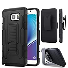 Galaxy A5 2017 Case, [Include Temper Glass Screen Protector 2 Pack]Heavy Duty Belt Clip Holster Bumper Shell Kickstand [DROP TESTED]Military Defender Full Body Dual Layer Rugged Rubber Armor Phone Cover for Samsung Galaxy A5 (2017) A520