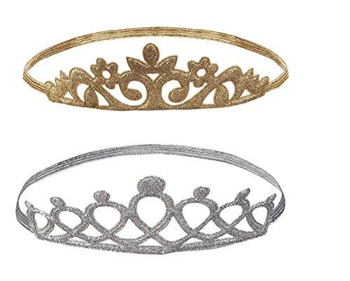 Baby Ganz Princess Tiara Crown Headband 2 Pc. Set - Silver Open Loop, Gold Ornate