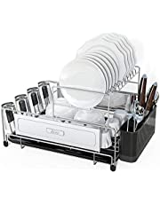 Dish Drying Rack, DDF iohEF 2-Tier Compact Kitchen Dish Rack with Removable Drain Board Utensil Holder Non-Slip Cup Holders 304 Stainless Steel Dish Drainer Dish Organizer Rack