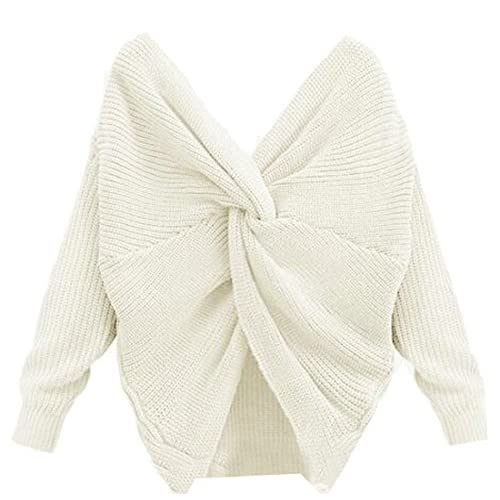 Cromoncent Womens Long Sleeve Solid Color Twist Knot Front Pullover Knits Sweater free shipping