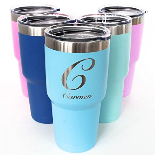Monogrammed Tumbler - Monogrammed Powder Coated Tumbler 30oz Double Wall Insulated Choose Your Color